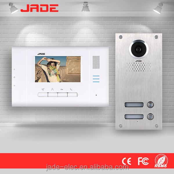 4.3 inch Color Display 4-wire Video Door Phone Intercom Set for 4 Users