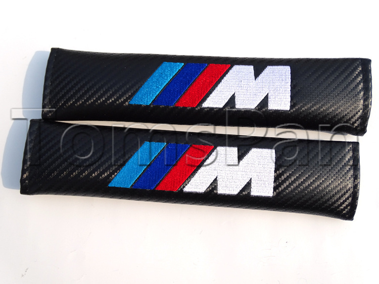 High quality 2pcs/lot universal ///M carbon fiber soft car styling safely seat belt shoulder pad cover for bmw free shipping