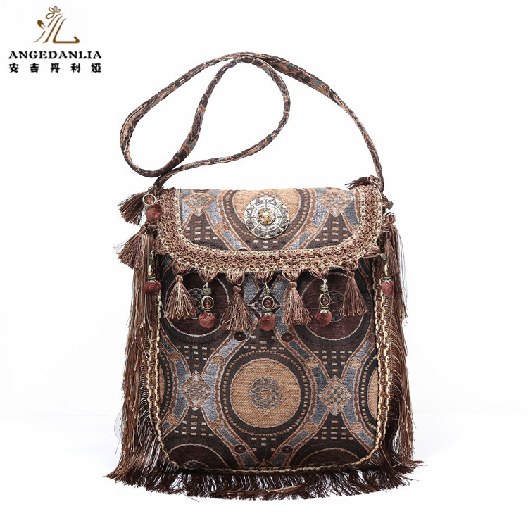 Exclusive Design BOHO Bags Women Handbag Hippy Gypsy Shoulder Bags Ethnic Tribal Bags with POM POM decoration
