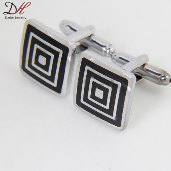 Classical Square Steel Wedding Party Gift Mens Cufflinks enamel Cuff Links
