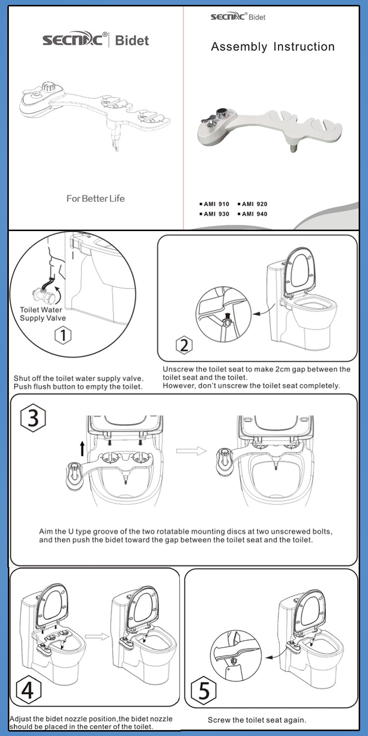 Left Hand Bidet of Toilet Attachment