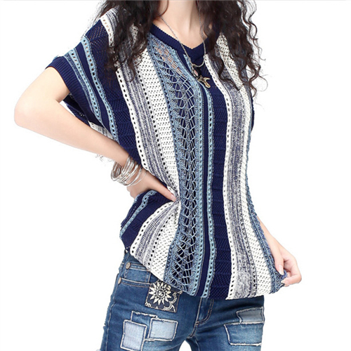 Brand Vintage Women Sweaters And Pullovers V-Neck Tricot Tops Cover-up Beach Jumper Anchor Design Knit Oversize Knitwear