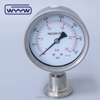 WYYW vacuum mbar low digital oil air water pressure gauge 1/4 npt oil filled manometer