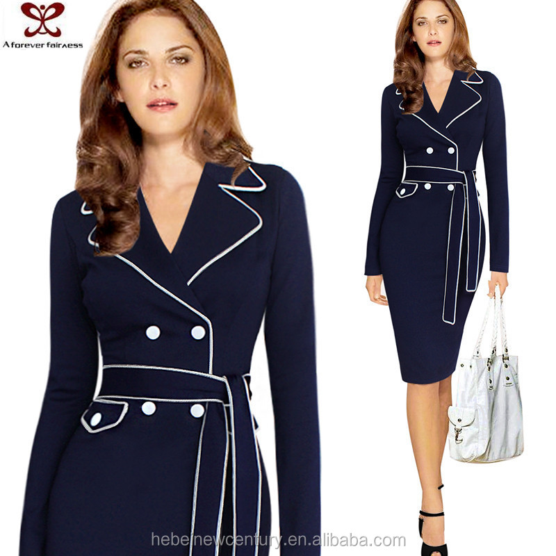 A Forever Fairness Suit Collar Buttons Belt One Piece Dresses Office Elegant Dress