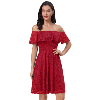 498b6583b7c Belle Poque Sexy Women's Short Sleeve Off Shoulder Dark Red Floral Lace  A-Line Dress