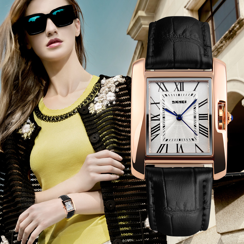 e6129148a2d SKMEI 1085 ladies square face genuine leather strap watch
