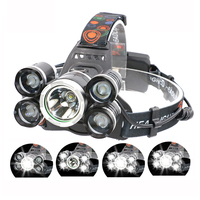 2018 New high power usb rechargeable 8000 Lumen 5 T6 LED Headlamp 4 Modes Head Light Lamp LED Headlight