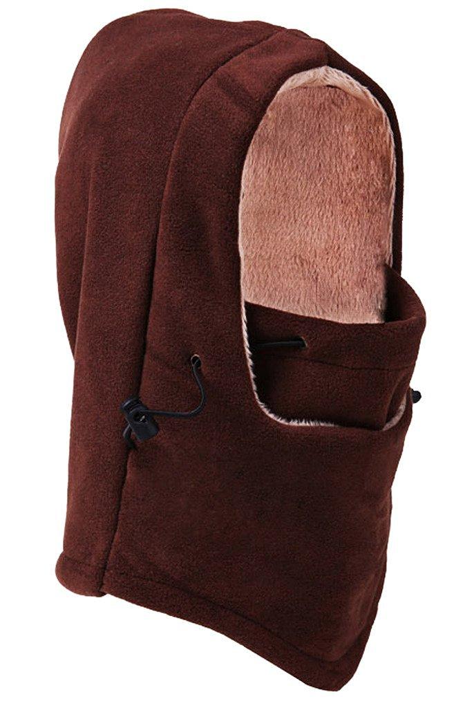 Bigood(TM) Thick Wool Outdoor Hooded Hat Windproof Cap Headcover Scarf Brown