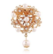 Flower Pearl Jewelry Cheap Bridal Crystal Rhinestone Brooch For Wedding