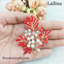 60mm large gold plate red enamel and pearl flower brooch, korea brooch for wedding women