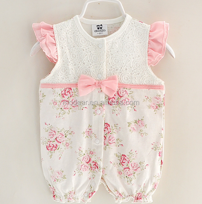 Wholesale 0-12m Baby Clothes Stylish Design Lace Floral Ruffles Baby Romper