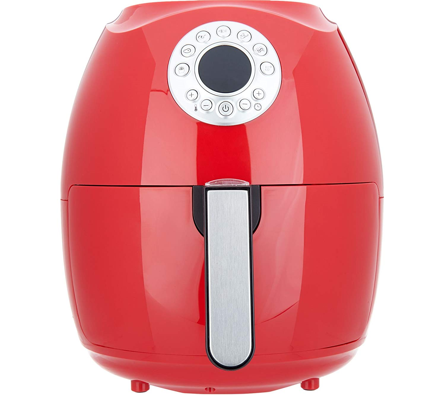 "Cook's Essentials 600187470308 3.4-Qt Digital w/Presets & Pans (Red), Air fryer 12-1/2""H x 10-1/2""Diam, weighs 9 lbs"