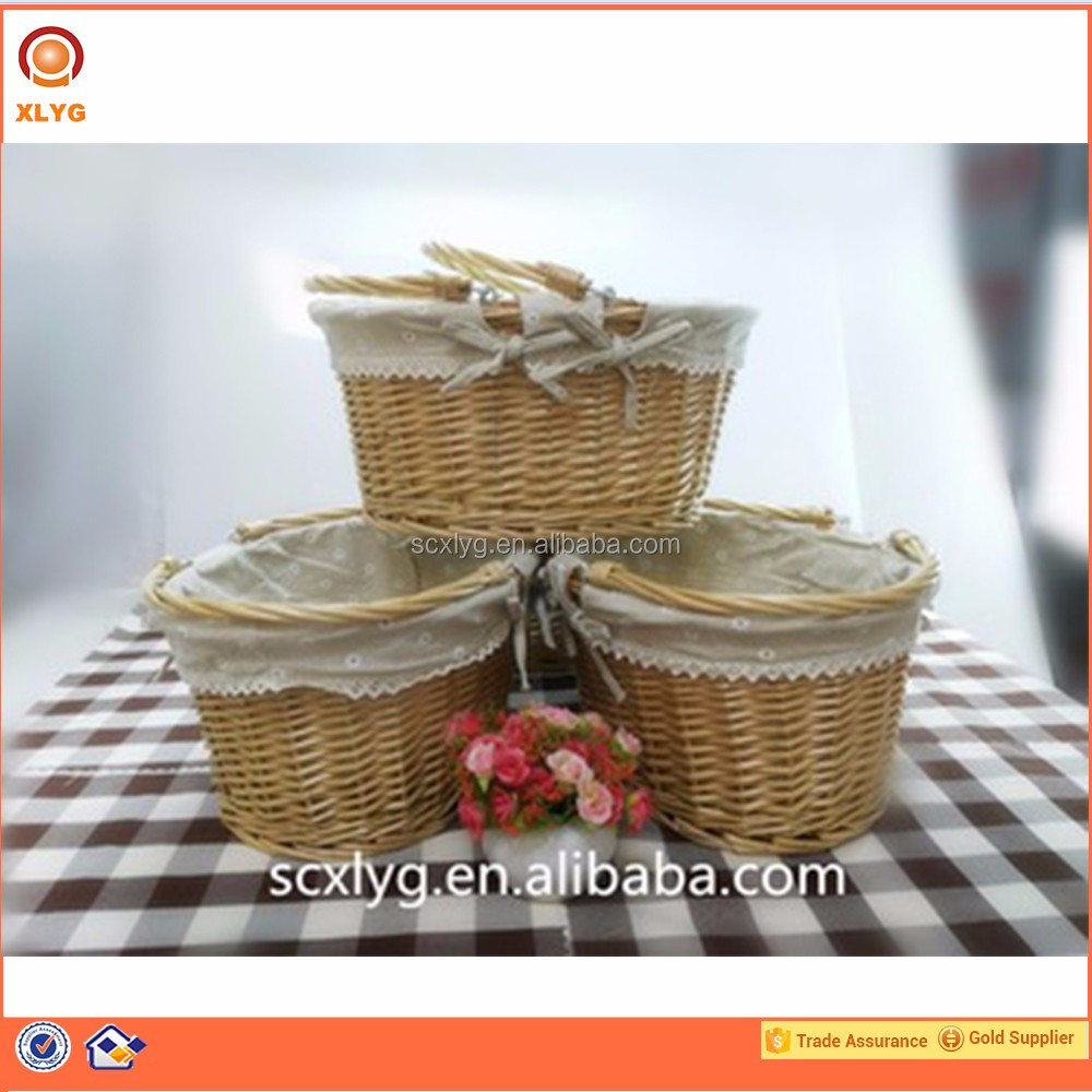 Spring fabric & wicker basket holiday outing picnic basket