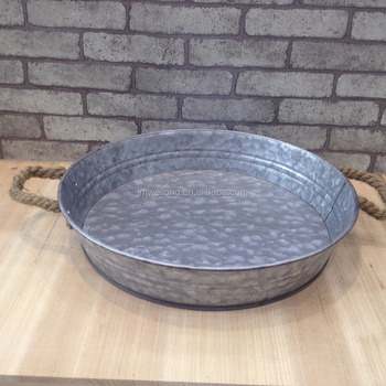 Essential Home Aged Galvanized Metal Serving Tray With Rope Handle Round Antique
