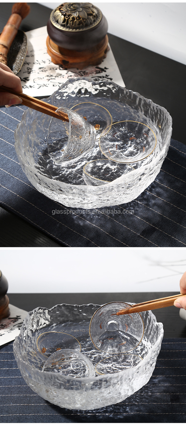 Hammered Pattern High Borosilicate Glass Cup Washing Basin Glass Tea Basin