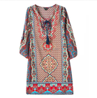 Red Vintage Beach Dress Floral Printed Summer Style Mini Women Dresses New Loose V Neck Women Clothing