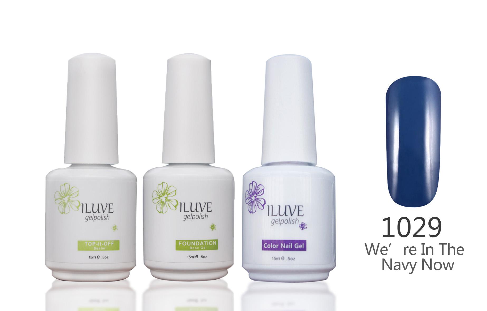 3 packs iLuve Professional Navy Blue Nail Gel Polish UV LED Lamps Gel 15ml Base Top