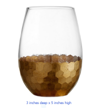 Gold plated honeycomb egg shaped stemless drinking glass China manufacture promotion