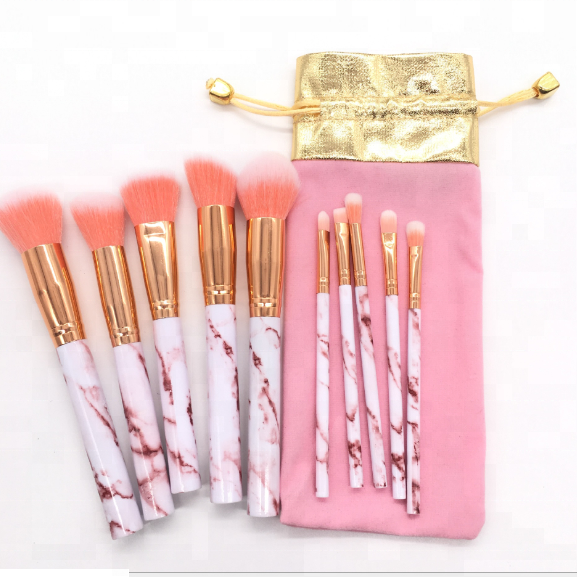 2018 Professional New Pink Marble Makeup Brushes Set 10 Pieces Foundation Cosmetic Tools
