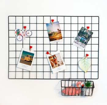 Home Decor Grid Photo Wall Decorative Iron Rack Clip Photograph Wall Hanging Picture Wire Wall Grid For Home Decoration