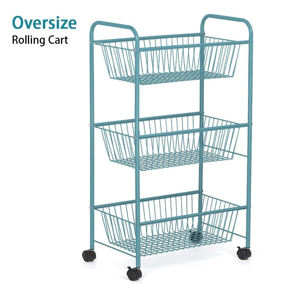LIANTRAL 3-Tier Over Size Storage Cart Multifunction Household Bathroom Kitchen Metal Mesh Basket Shelving Rolling Cart Utility Cart with Wheels (LT-DB049B) (Blue)