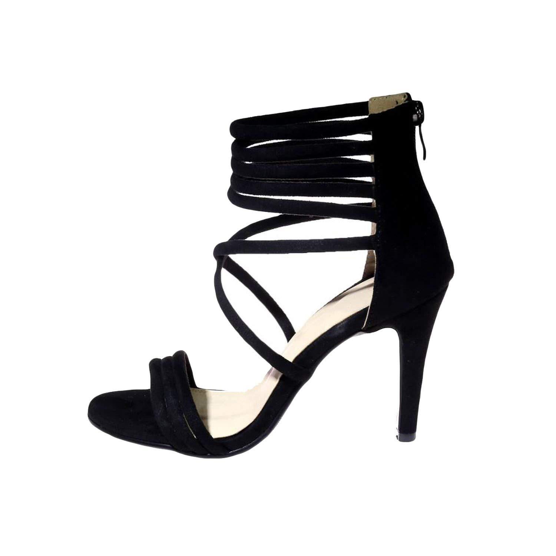 Amazing-cool heeled-sandals Women Sandals 2018 Summer Fashion Cross Strap Fretwork Sexy Women Shoes,Black,4