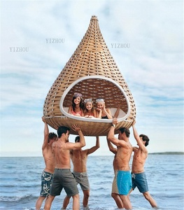 Yizhou Top Sale Outdoor Furniture hanging Rattan Pool Big Round gourd shape nest bed rattan hammock sunbed canopy swing bed