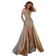 Custom Made Champagne Long Evening Dress Mermaid Gowns With Detachable Train