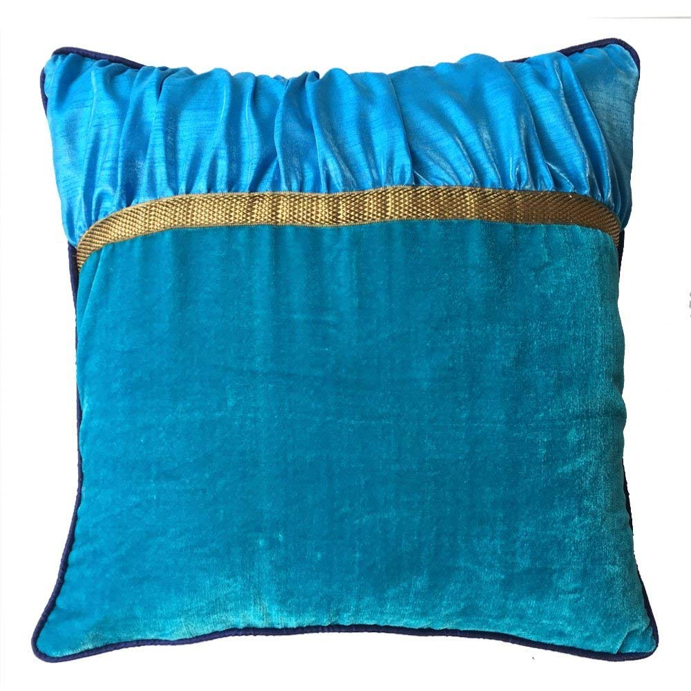 Decorative Square Luxuries Velvet Silk Piping Pillow cover with Turquoise Blue Velvet Blue Dupioni & Blue Piping pillow cover