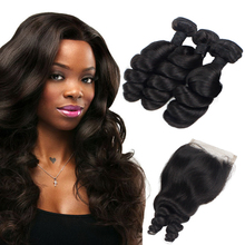 Morein Losse golf 8-20 inch peruaanse Virgin Haar met Sluiting 100% Human Hair Bundels Full Lace Band Sluiting