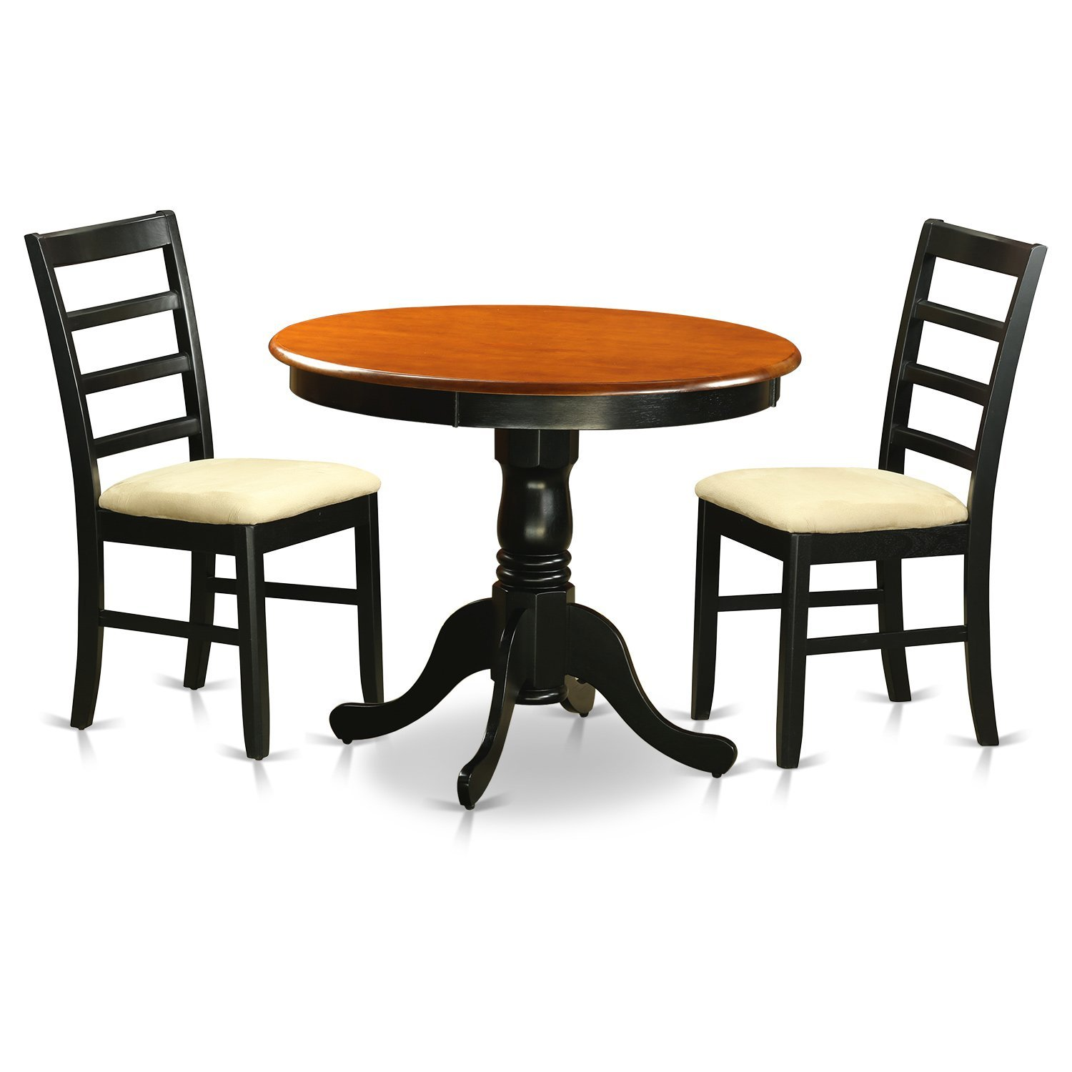 East West Furniture ANPF3-BLK-C 3 Piece with 2 Microfiber Chairs Antique Dining Set, Black/Cherry Finish