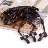 Women Men 8mm Rosary Bead Necklace Catholic Christian Jesus Wood Cross Rosary Necklace