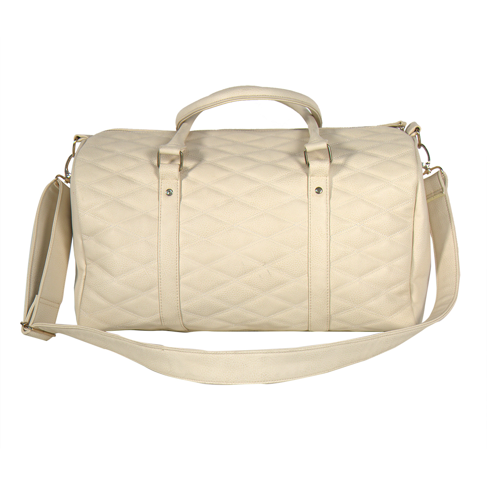 high quality quilted leather PU women travel bag weekend bag duffel bag