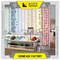 Handicrafts retail store fixture design and wood display counter with white paint