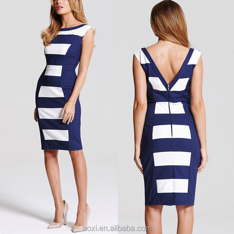 Oem clothes factory jersey wear women stripe panel fashion bodycon dress for women