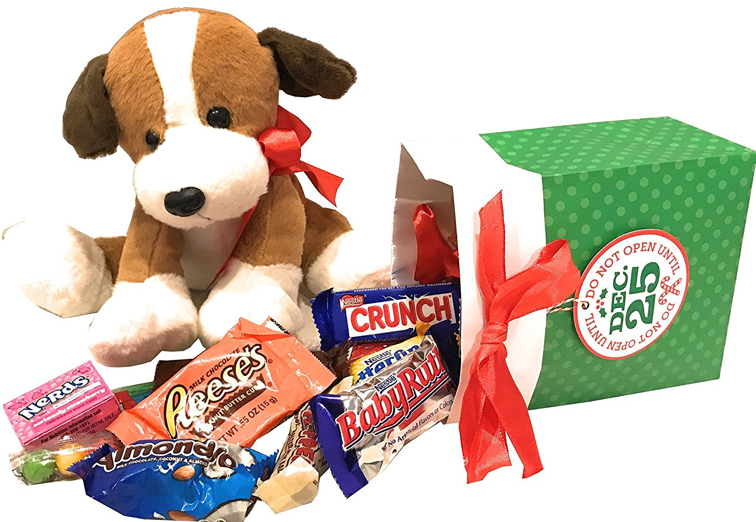 From Santa's Helper With Love! Plush Stuffed Christmas Pal with Candy - Dove - Hersheys - Nestles - Mars +More - A Special Gift for Christmas! (Brown & White Puppy & Don't Open 'Til Dec 25 Candy)