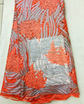 Newly designs Sequins net lace Orange color/ french lace fabric with pearls J885-6