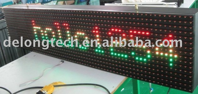 CE RoHS p25mm 16X80pixel programmable red green outdoor led message display
