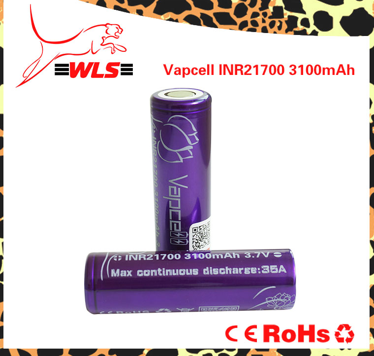 Vapcell INR21700 3100mAh 35A rechargeable battery high capacity vapcell 20650/20700/18650/21700