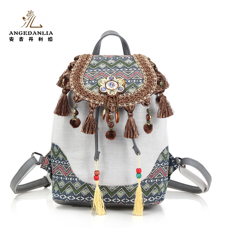 Ethnic Boho Backpack Linen Bags Wholesale Vintage Style Women's Bohemian <strong>Shoulder</strong> Bag For Travel