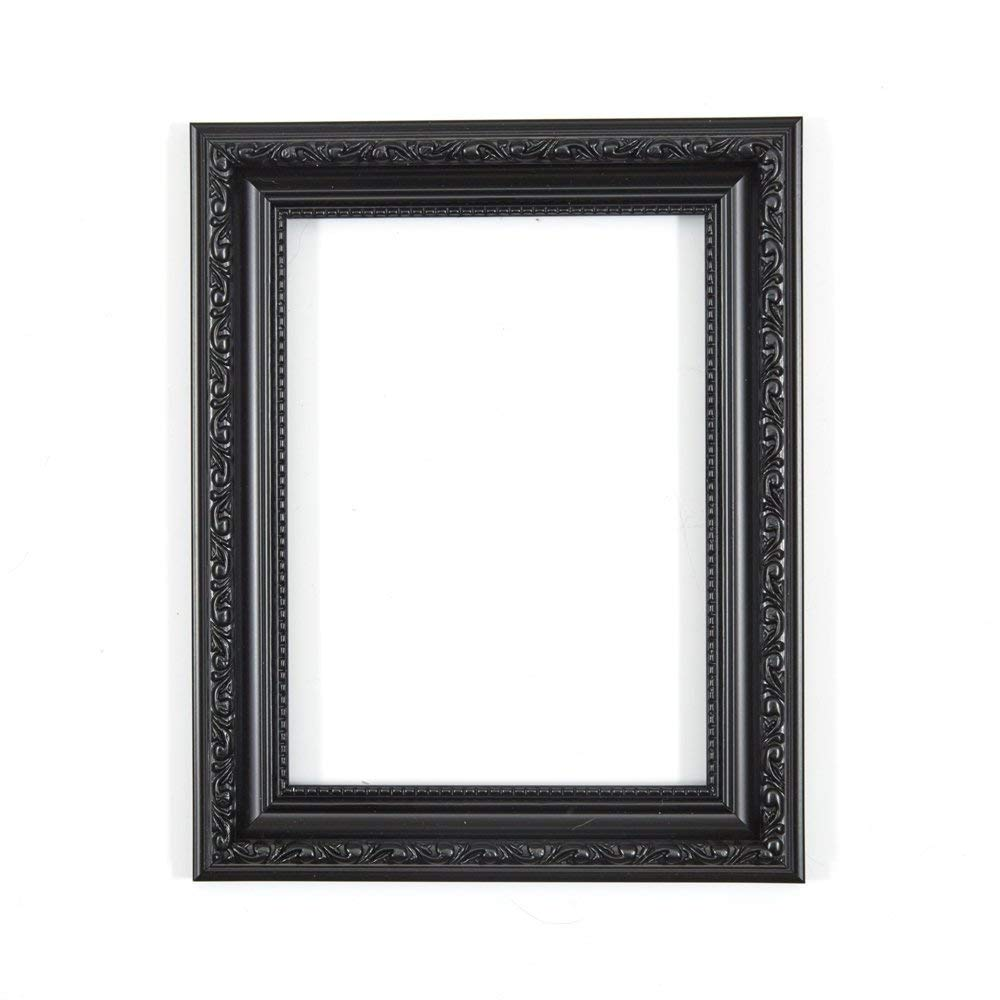 "Paintings Frames Ornate Shabby Chic Picture Frame Photo Frame Poster Frame With MDF Backing Board & High Clarity Styrene Shatterproof Perspex Sheet Ready To Hang Or Stand 8""X6"" Black"