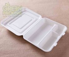 Eco-friendly 11 inch white disposable sugarcane bento box