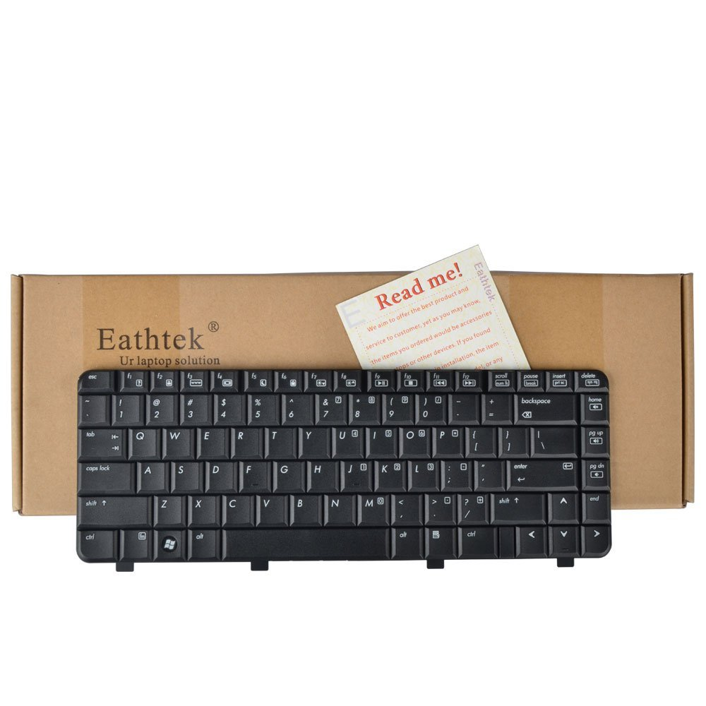 Eathtek New Laptop Keyboard for HP Compaq Presario C700 Series Black US Layout, Compatible with part number 454954-001 PK1302E0200 (Note:The part# may be different)