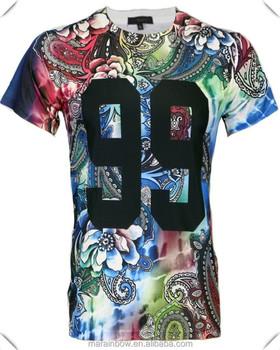 100% poliéster seco Fit Hombre de sublimación impreso Camiseta con  estampado Floral en número de c89135ab9a373