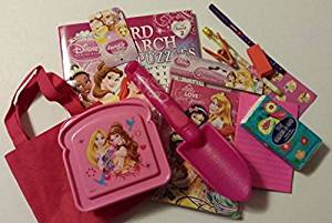 Disney Princess Journal Writing Pad Bundle Sand Garden Shovel Stickers Word Search Snack Storage & More Great Birthday Party Gift