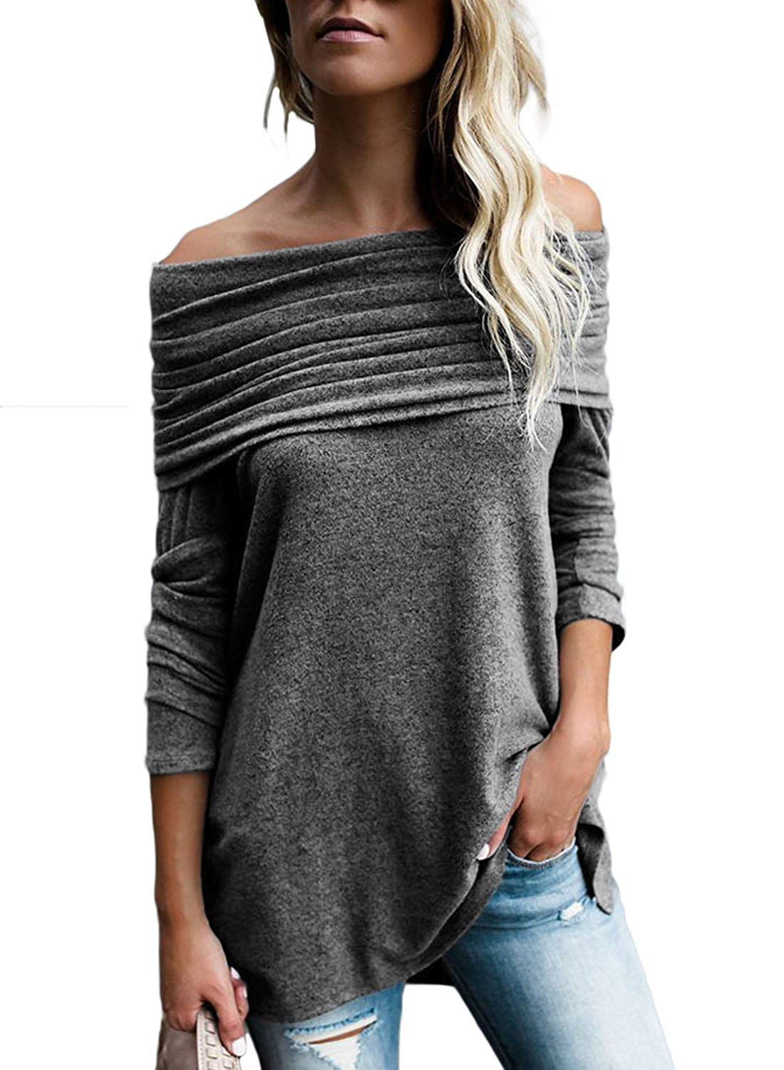 304c1023d5 Get Quotations · FARYSAYS Women s Casual Off Shoulder Ruched Fold Over Tunic  Long Sleeve High Low Blouse Tops
