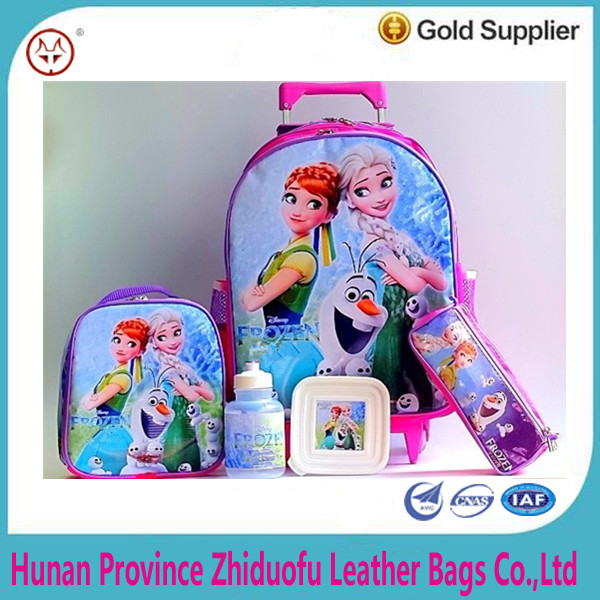 Trolley backpack bag with straps back for kids ,printing Frozen Anna and Elsa cartoon lunchbox bag set