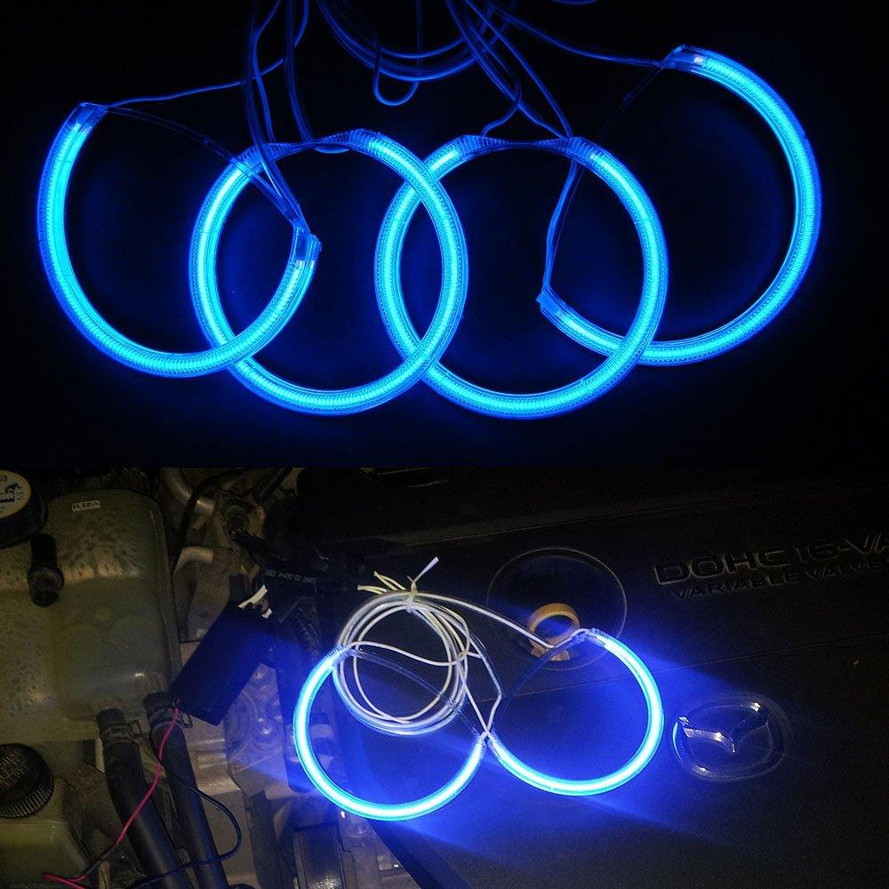Nslumo Ultra Bule 4CCFL Angel Eyes Kit 7000K Halo Rings Headlight for Mazda3 Car Halo Light (4rings +2inverters) (Blue)