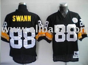 sale retailer c5569 44dc6 Pittsburgh Steelers LYNN SWANN Throwback Black Jerseys solid sewn