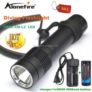 Alonefire DV21 Diving Flashlight Torch XM-L2 LED Underwater diver light Lamp +26650 rechargeable battery white light